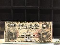 1875-banque Nationale De Cattlesburg $ 10 Devise Nationale