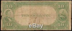 1882 10 $ Louisville Kentucky Banque Nationale Note Grande Monnaie Old Billets