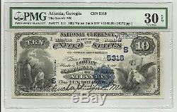 1882 $ 10 Lowry Bank Atlanta Ga Note De La Monnaie Nationale N ° 5318 Pmg 30 Très Bien Epq