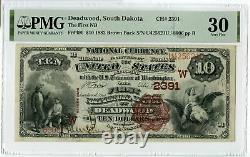 1882 10 $ Première Banque Nationale Deadwood 2391 Pmg 30 Monnaie Nationale Brown Jm098