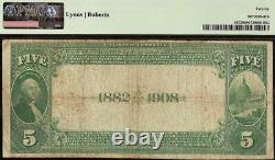 1882 $5 Date Retour Hamilton National Bank Note Fort Wayne Indiana Devise Pmg 20