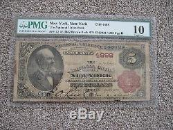 1882 Brown Back 5 $ Monnaie Nationale Union Nationale Banque De New York Pmg 10