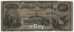 1882 Db 10 $ Des Moines Iowa National Bank Note Devise Circ Vg Très Bon (282)