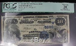 1882 Neligh National Bank Nebraska 10 $ Devise Pcgs Certifié Vf Très Bien 20