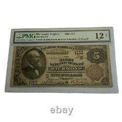 1885 Virginie 5 $ Monnaie Nationale Première Banque Nationale De Richmond Pmg Brownback