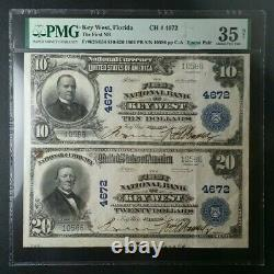 1902 $10 & $20 First National Bank Of Key West National Currency Uncut Paire Pmg
