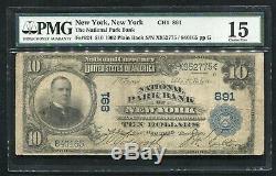 1902 10 $ Banque Du Parc National De New York, Ny Monnaie Nationale Ch. # 891 Pmg F-15