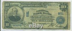 1902 10 $ Banque Nationale Parc De New York, Charte Monnaie Nationale Ny 891