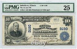1902 10 $ Deuxième Banque Nationale Belvidère IL 3190 Monnaie Nationale Pmg 25 Jy144