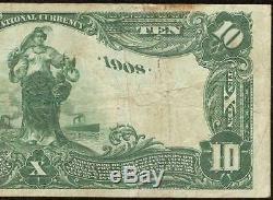 1902 10 $ Dollar Date De Retour Mellon Banque Nationale Note Grande Monnaie Billets