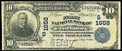 1902 10 $ La Première Banque Nationale De Lynchburg, Virginie Monnaie Nationale Ch. # 1558