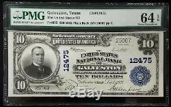 1902 10 $ Monnaie Nationale, La Banque Nationale Aux États-unis De Galveston, Tx