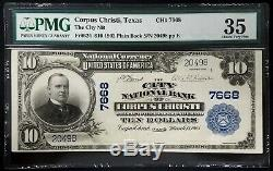 1902 $ 10 Nat'l Monnaie, City National Bank Of Corpus Christi, Tx! Pmg Ch Vf 35
