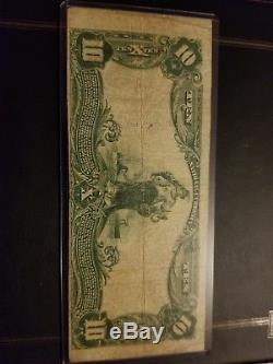 1902 10 $ Note De La Banque Nationale Baltimore Maryland Devise Grande Taille DIX