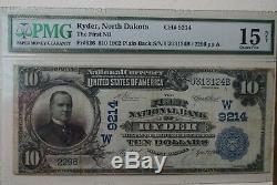 1902 $ 10 Premier National Bank Of Ryder, Nd Monnaie Nationale Ch # 9214 Pmg, Rare