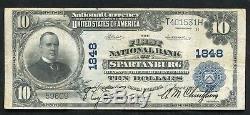 1902 10 $ Première Banque Nationale De Spartanburg, Sc Monnaie Nationale Ch. # 1848