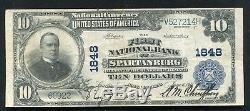 1902 10 $ Première Banque Nationale De Spartanburg, Sc Monnaie Nationale Ch. # 1848 (e)