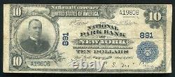 1902 10 $ The National Park Bank Of New York, Ny National Currency Ch. #891
