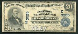1902 20 $ Columbia National Bank Of Washington, D.c. National Currency Ch #3625