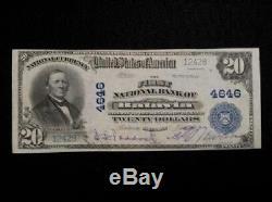 1902 20 $ Devise Nationale Première Banque Nationale De Batavia Illinois