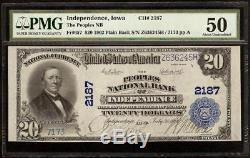 1902 $ 20 Dollar Banque Nationale De L'indépendance Iowa Note Grande Monnaie Pmg Au 50