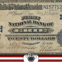 1902 20 $ Erie, Pa Date Retour Banque Nationale Note Pennsylvanie Monnaie 3137