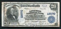 1902 $ 20 Lincoln Banque Nationale De Newark, Nj Monnaie Nationale Ch. # 12570