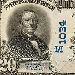 1902 $ 20 Prem Banque Nationale De Connersville, Indiana Monnaie Nationale M1034