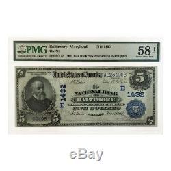 1902 $ 5 Banque Nationale De Baltimore Maryland Date De Retour Monnaie Remarque Pmg Au58 Epq