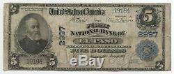 1902 $ 5 Billet De Grande Devise Nationale 2997 El Paso Illinois First Bank Ba398