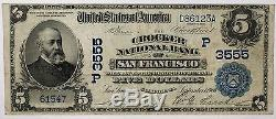 1902 5 $ Devise Nationale Crocker Bank San Francisco Californie Ch # 3555 Ww