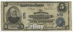 1902 $ 5 Devise Nationale Grand Billet Ch 570 Philadelphie Banque De Tradesmens Bank Ba270