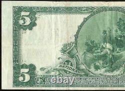 1902 $5 Dollar Bill National Bank Note Grande Monnaie Old Paper Money Rochester