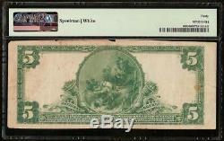 1902 5 $ Dollar Riverside IL Banque Nationale Note Grande Billet De L'argent Pmg 30