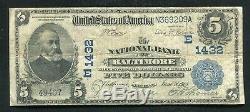 1902 $ 5 La Banque Nationale De Baltimore, Maryland Monnaie Nationale Ch. # 1432