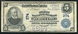 1902 5 $ La First National Bank De Jersey City, Nj Monnaie Nationale Ch. # 374