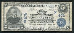 1902 $5 La Première Banque Nationale De Greenfield, Ma Monnaie Nationale Ch. #474