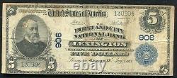 1902 5 $ Le 1er & City National Bank De Lexington, Monnaie Nationale Ky Ch # 906