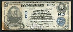 1902 5 $ Merchants Bank National De Baltimore, MD Monnaie Nationale Ch. # 1413