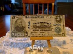 1902 5 $ Monnaie Nationale, Ch # 13044, Banque D'italie, San Francisco, Ca. V / F Condition