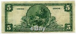 1902 5 $ Monnaie Nationale Grande Note M2715 Milwaukee Wisconsin First Bank Bh367