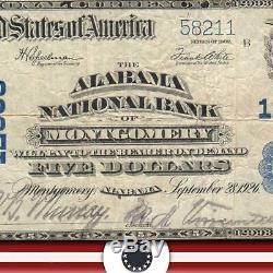 1902 $ 5 Montgomery, Al Billet De La Banque Nationale Alabama Currency 58211