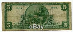 1902 5 $ Note Monnaie Nationale W9309 Peoples Bank Kansas City Five Dollars Bj297