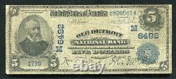 1902 $5 Old Detroit National Bank Of Michigan National Currency Ch. #6492