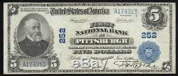 1902 5 $ Pittsburgh, Pa Banque Nationale Note Pennsylvanie Monnaie A174913