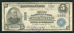 1902 $5 The Valley National Bank Of Des Moines, Ia Monnaie Nationale Ch. Numéro 2886