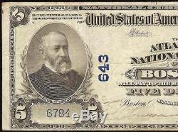1902 Banque Nationale Atlantique De 5 Dollars De Boston Massachusetts Note Currency Vf