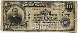 1902 Billet De 10 $ En Devise Nationale 1672 Bank Of Atchison Kansas Sz176