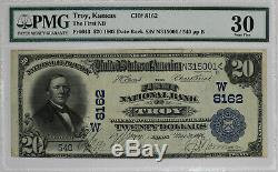 1902 Db 20 $ Troy Kansas Banque Nationale Note Devise Pmg Cert 30 Very Fine (5001)