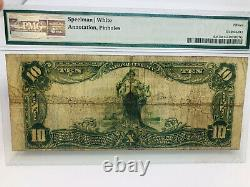 1902 Grand $10 DIX Dollars Note Monnaie Nationale Kenosha Wisconsin Banque Pmg 15
